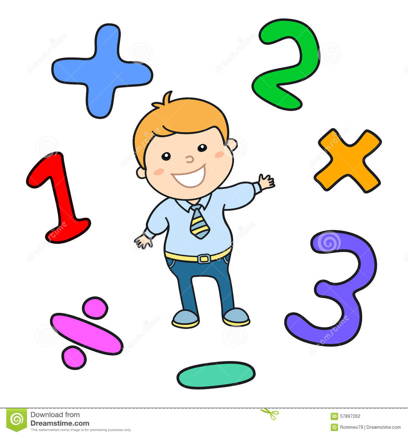 Cartoon Style Math Learning Game Illustration. Mathematical.