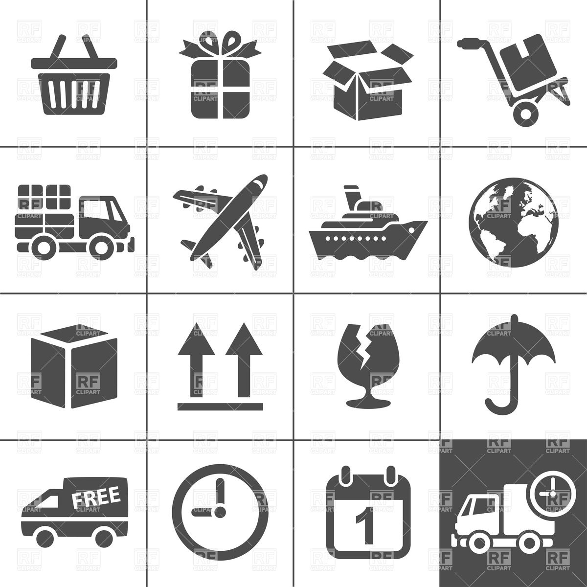 Logistic, delivery and transportation icons Vector Image #51747.