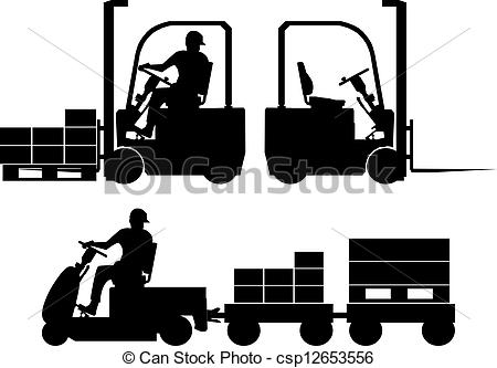 Clipart Vector of Logistic equipment silhouettes.