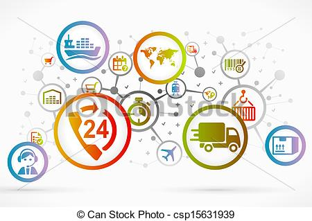 Vectors of Logistic icon set vector abstract background.