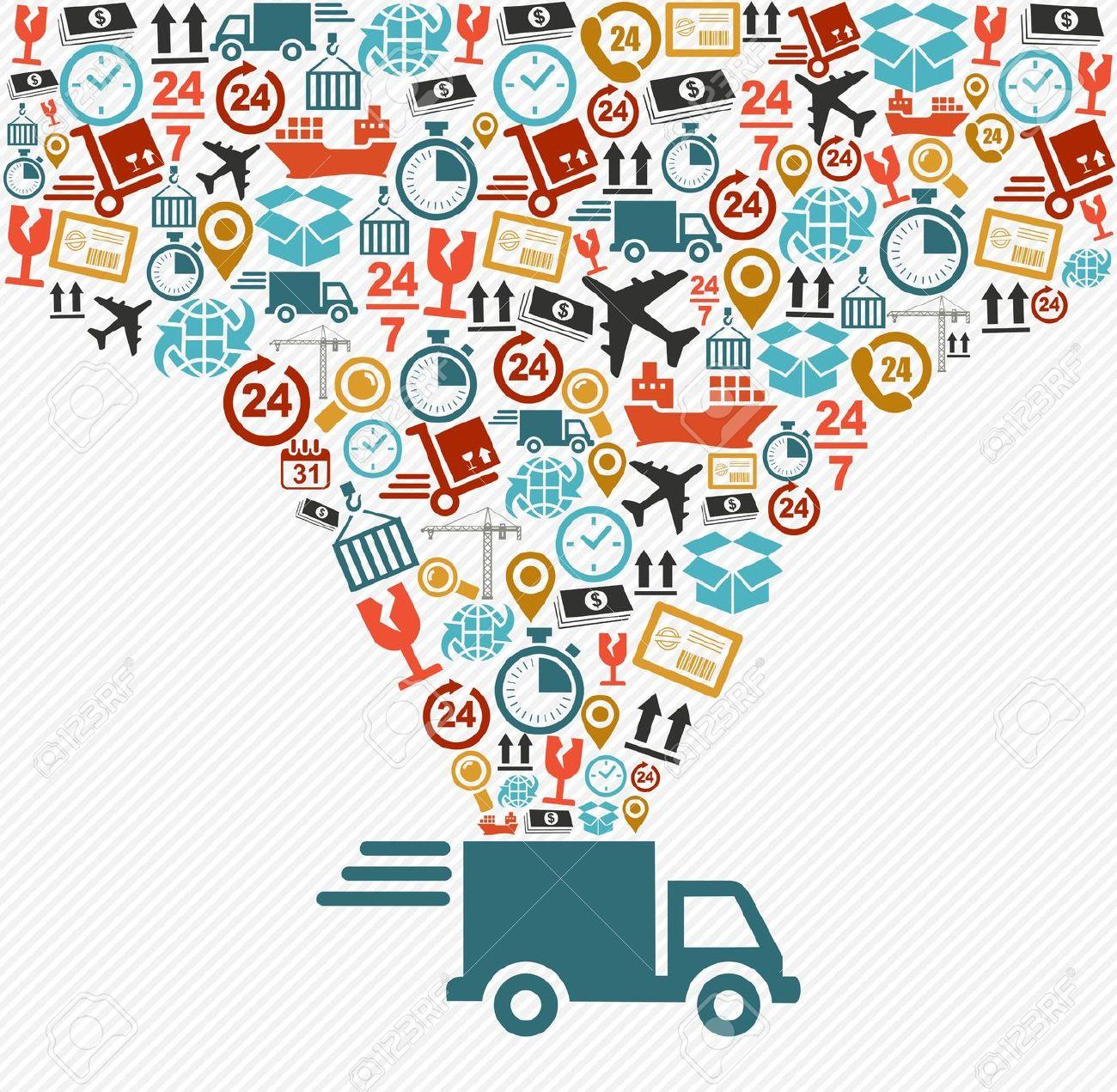 Logistics truck clipart.