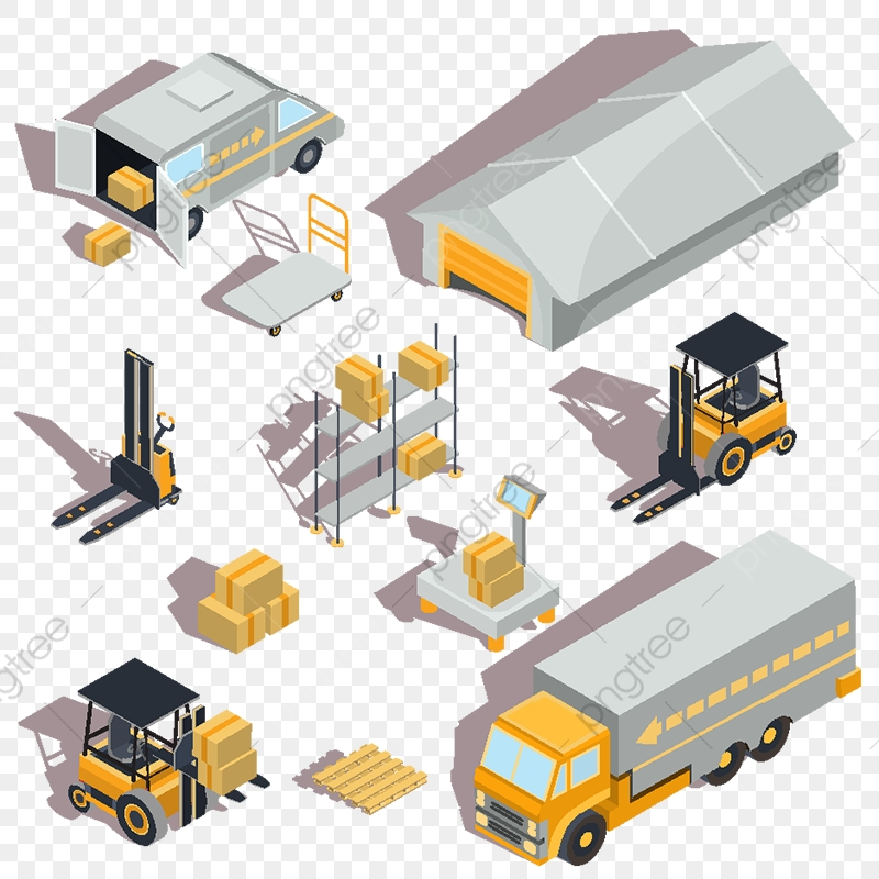 Vector Logistic And Delivery Isometric Icons, Cargo.