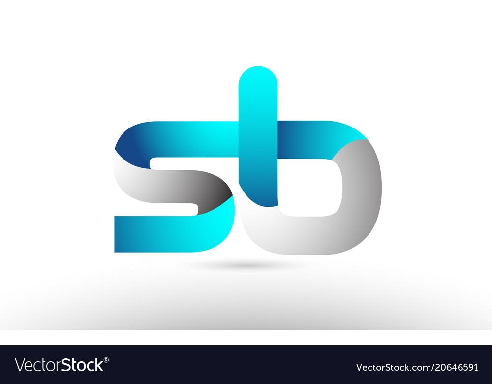 Grey blue alphabet letter sb s b logo 3d design.