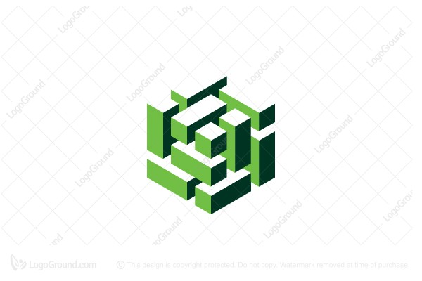 Exclusive Logo 164830, Abstract Cube Structure 3d Logo.