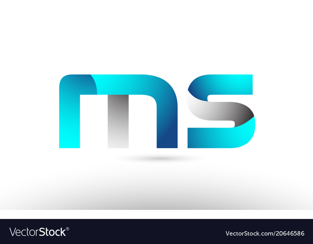 Grey blue alphabet letter ms m s logo 3d design.