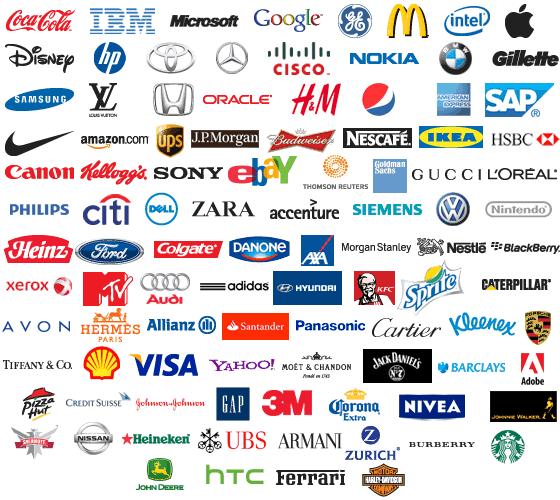 Top 100 brand logos.