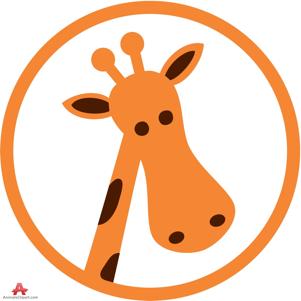 Giraffe circle logo clipart design free download.
