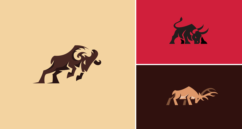 Beautiful Logos Of Animals In Charging Positions.