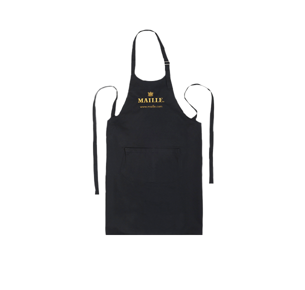 Black Cotton Kitchen Chef Apron with Maille logo.