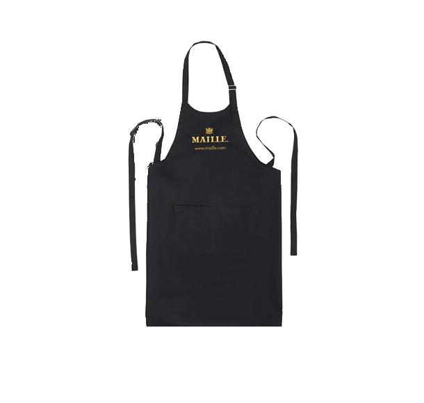 Black Cotton Kitchen Chef Apron with Maille logo.