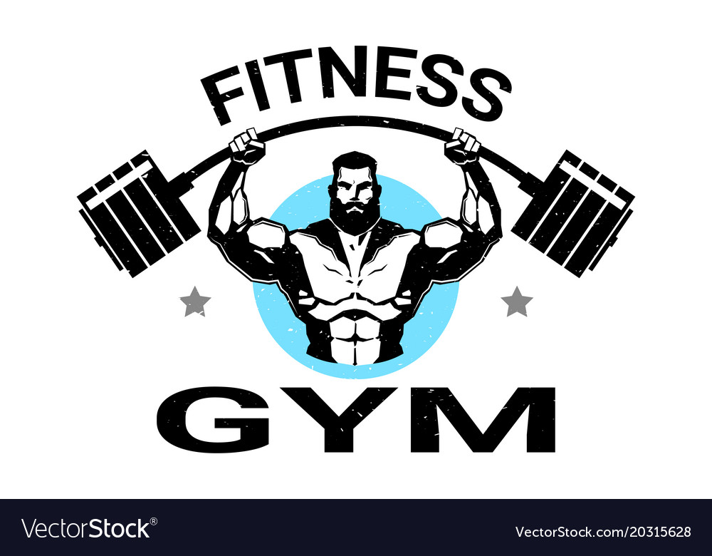 Fitness gym logo with athletic man training black.