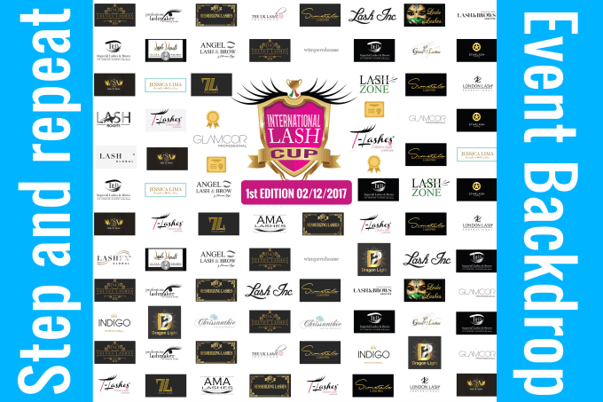 create step and repeat or backdrop banners from your logo.