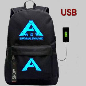 Details about ARK: Survival Evolved Logo USB Charging Port Black Oxford  Backpack High Quality.