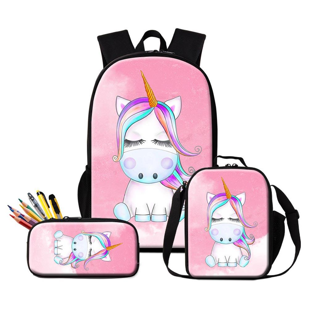 Customize Your Own Design Logo Backpacks Pencil Case Lunch Bags Set For  Primary Students Children Lovely Unicorn Bookbag Girl Rucksack School Bags  For.