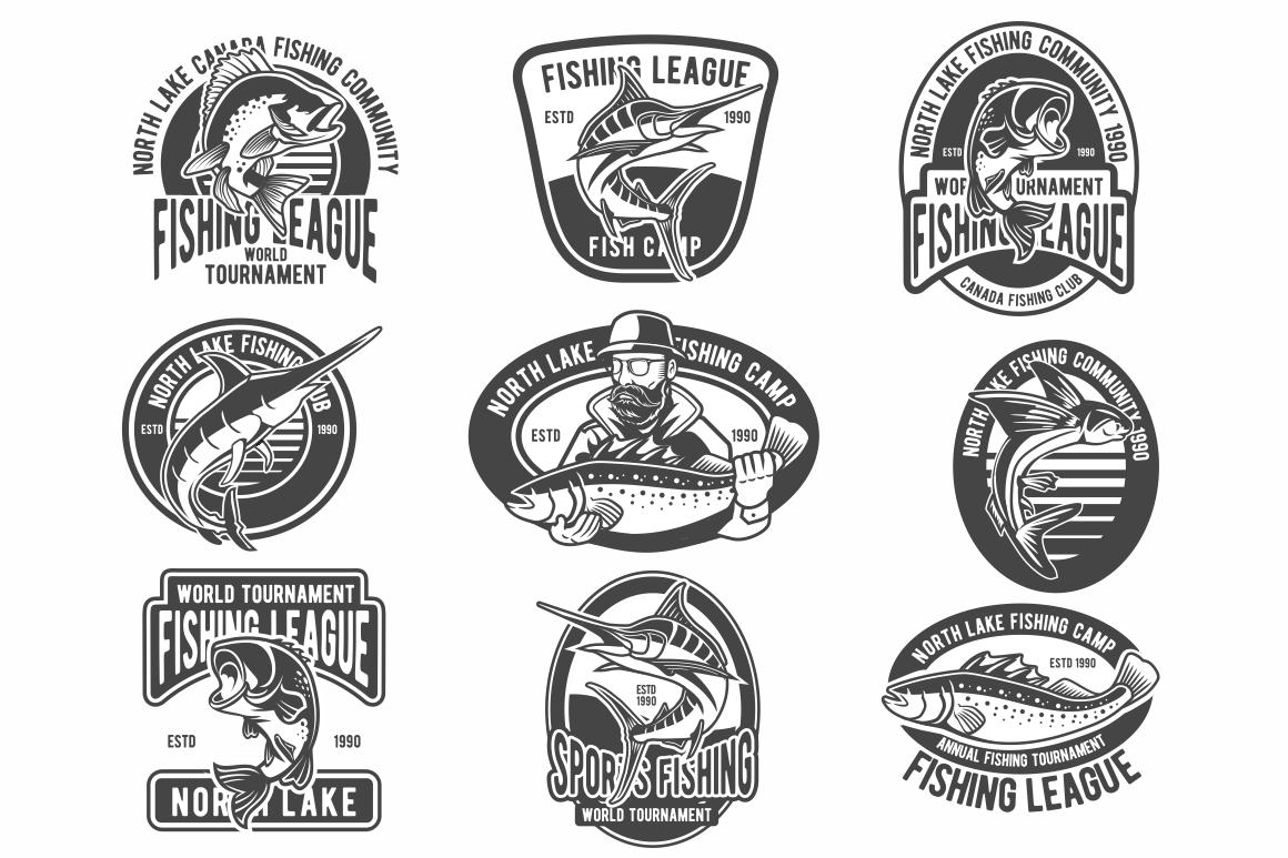 Fishing Vintage Badges Logo.