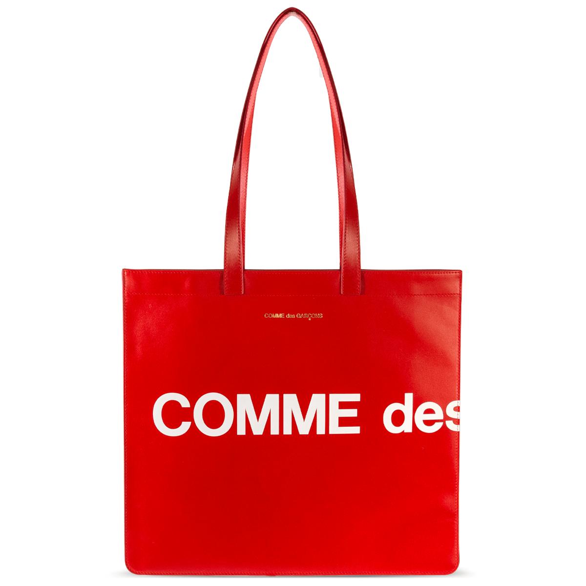 Huge Logo Leather Tote Bag Red.