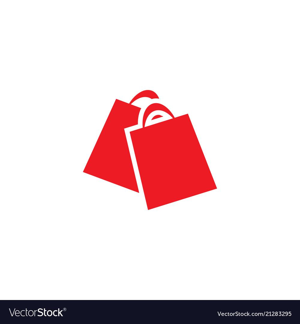 Red shopping bag retail logo design template.