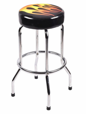 china modern classic metal flame logo bar stool.