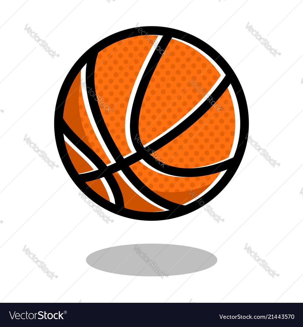 Basketball sport ball logo line 3d icon.
