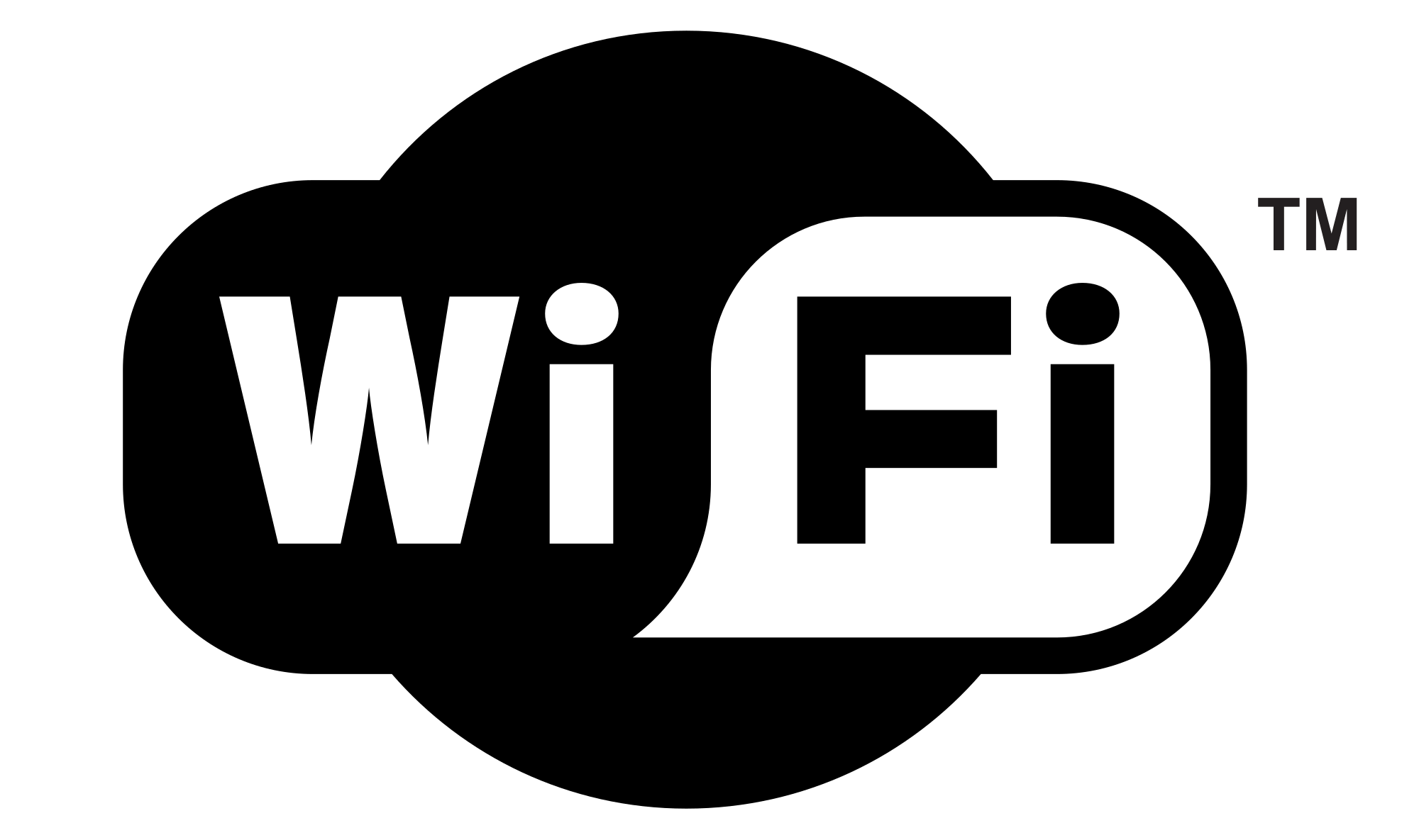 WiFi Logo Black and White transparent PNG.
