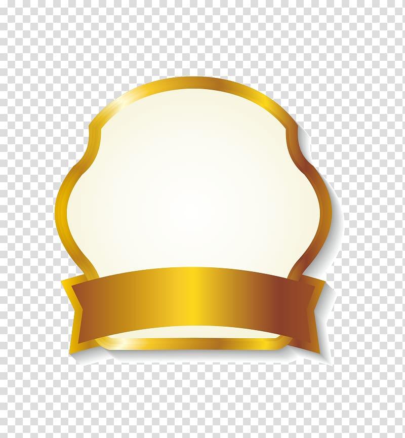 Shiny gold ribbon label border, gold ribbon logo transparent.