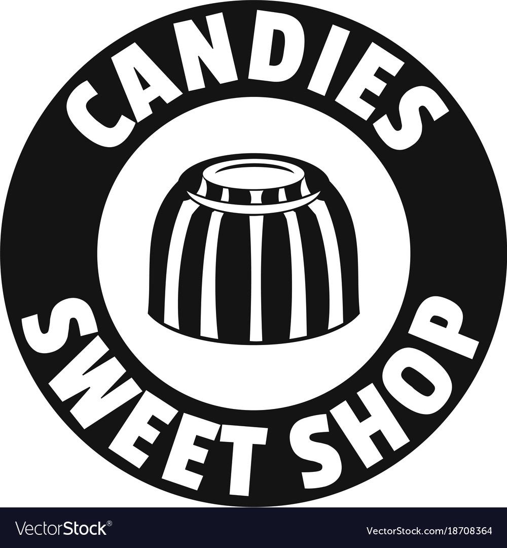 Candies sweet shop logo simple black style.