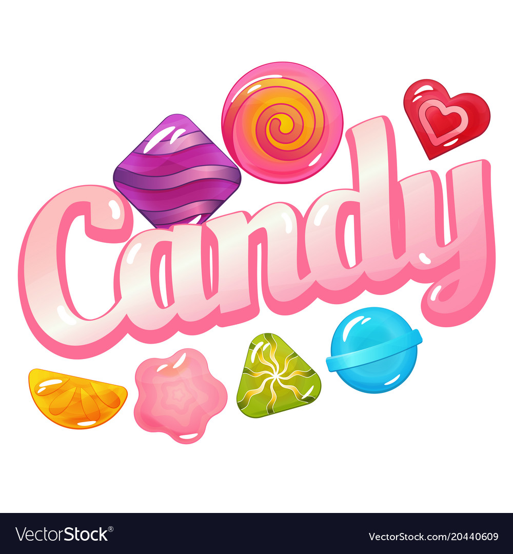 Candy logo with sweet candies.