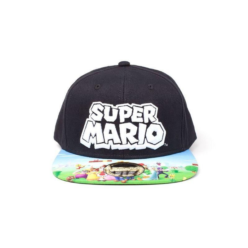 Bioworld Super Mario Logo Printed Black Snapback Cap.
