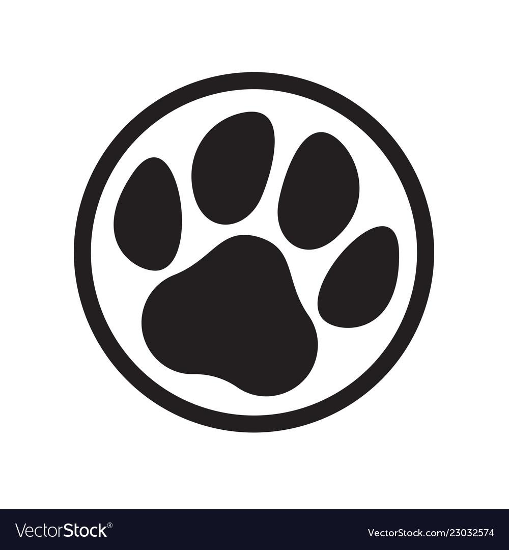 Paw logo cat dog animal pet footprint icon.