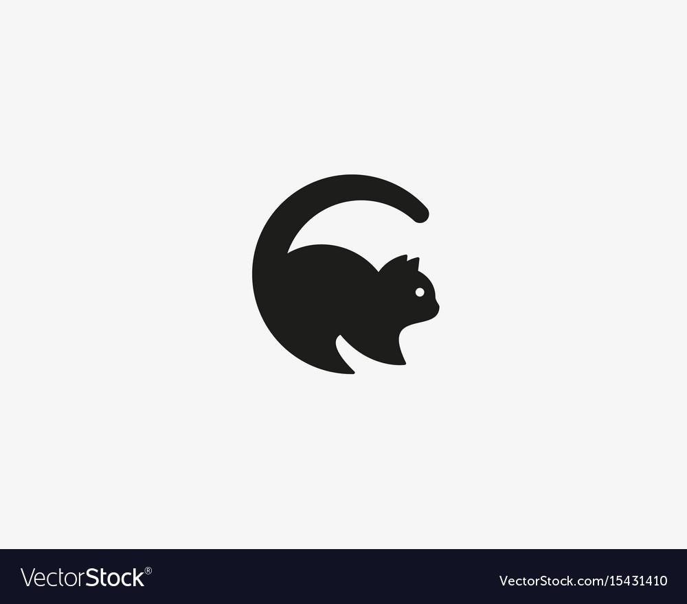 Cat logo pet letter c logotype.
