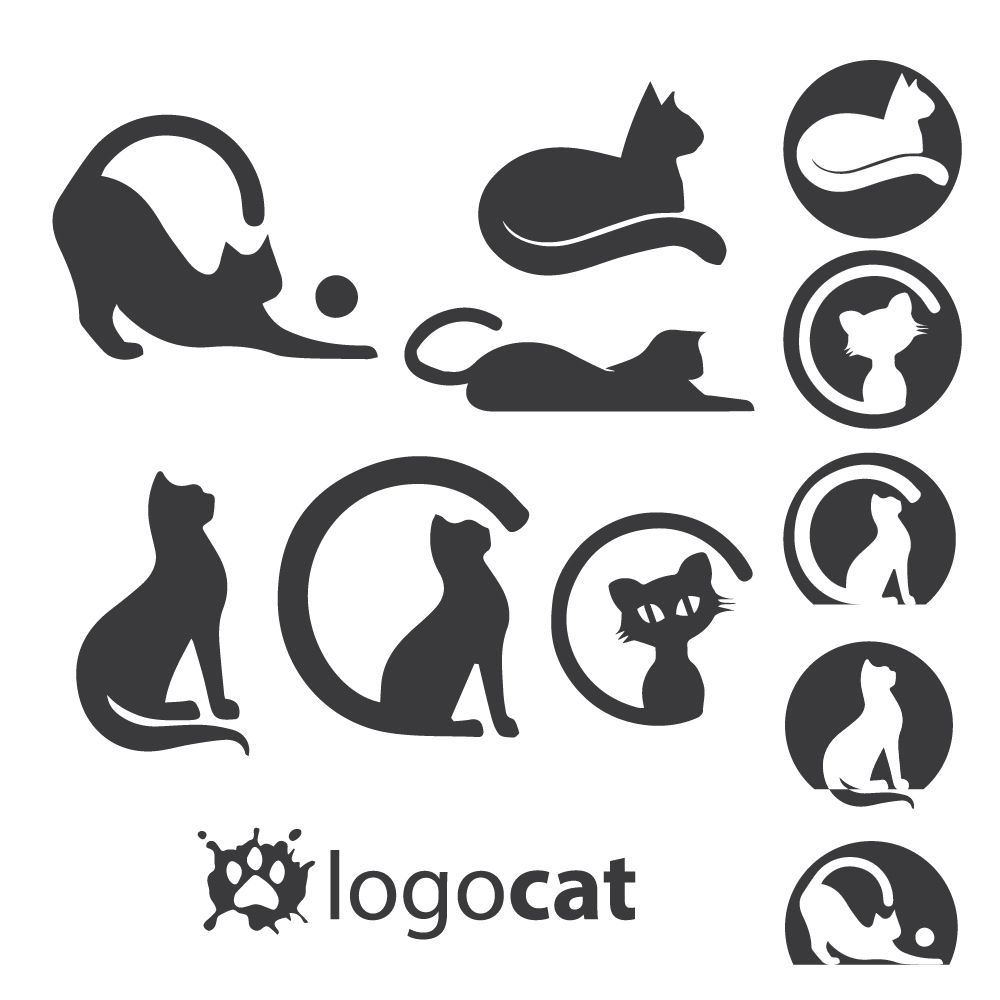 cat logo set.