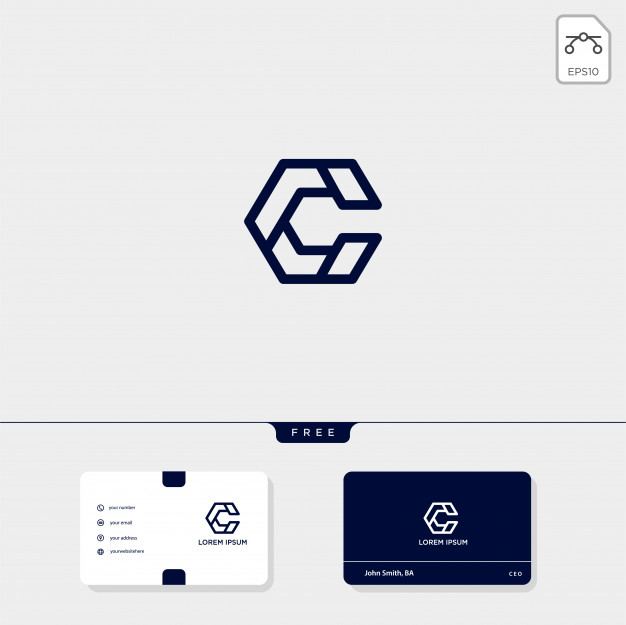 Initial c, cc outline creative logo template and business.