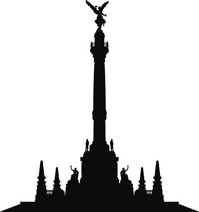 Angel of Independence, Mexico City vector art illustration.