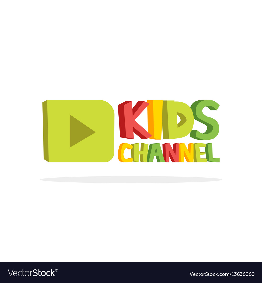 Kids channel funny letters cartoon logo template.