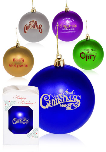 Round Plastic Holiday Ornaments.