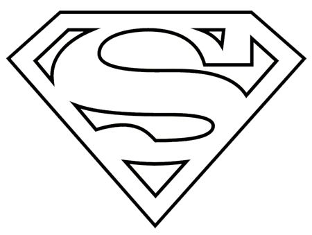 Superman logo clipart black and white.