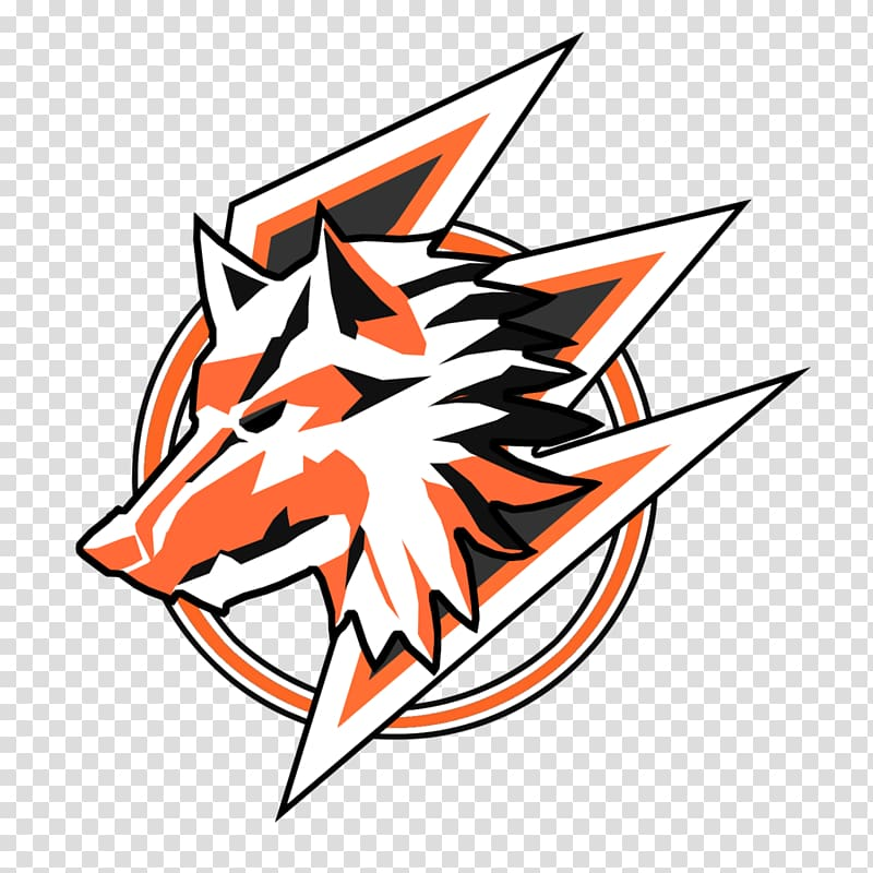 White and orange animal logo, Gray wolf Logo Emblem Pack.
