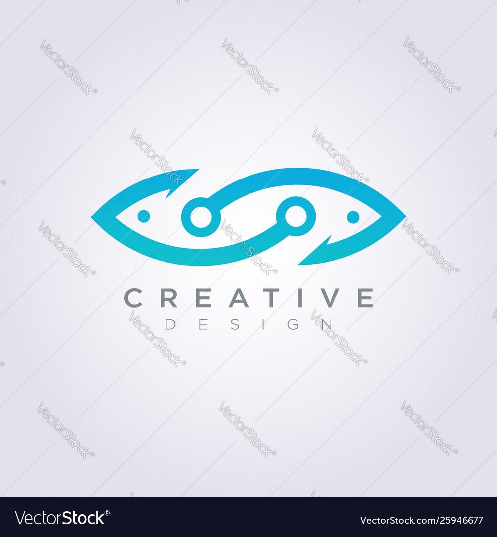Hook fish design clipart symbol logo template.