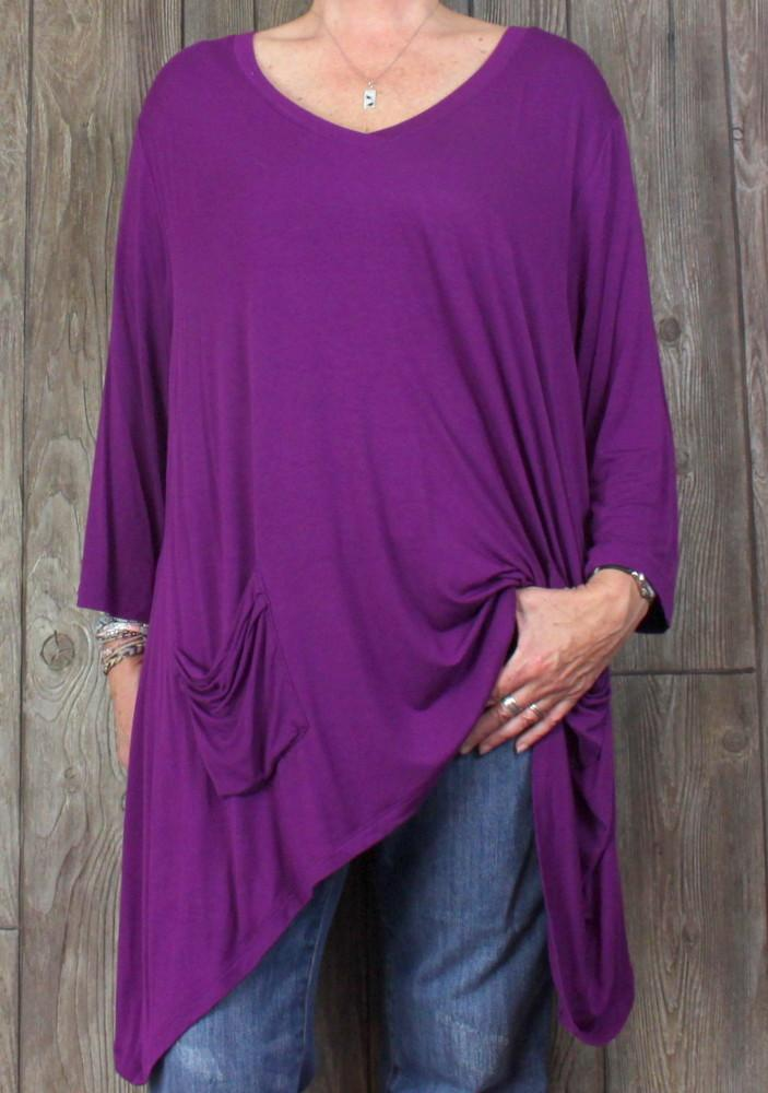 LOGO Lori Goldstein 2x size Purple Tunic Top Womens Soft Stretch Blouse Plus.