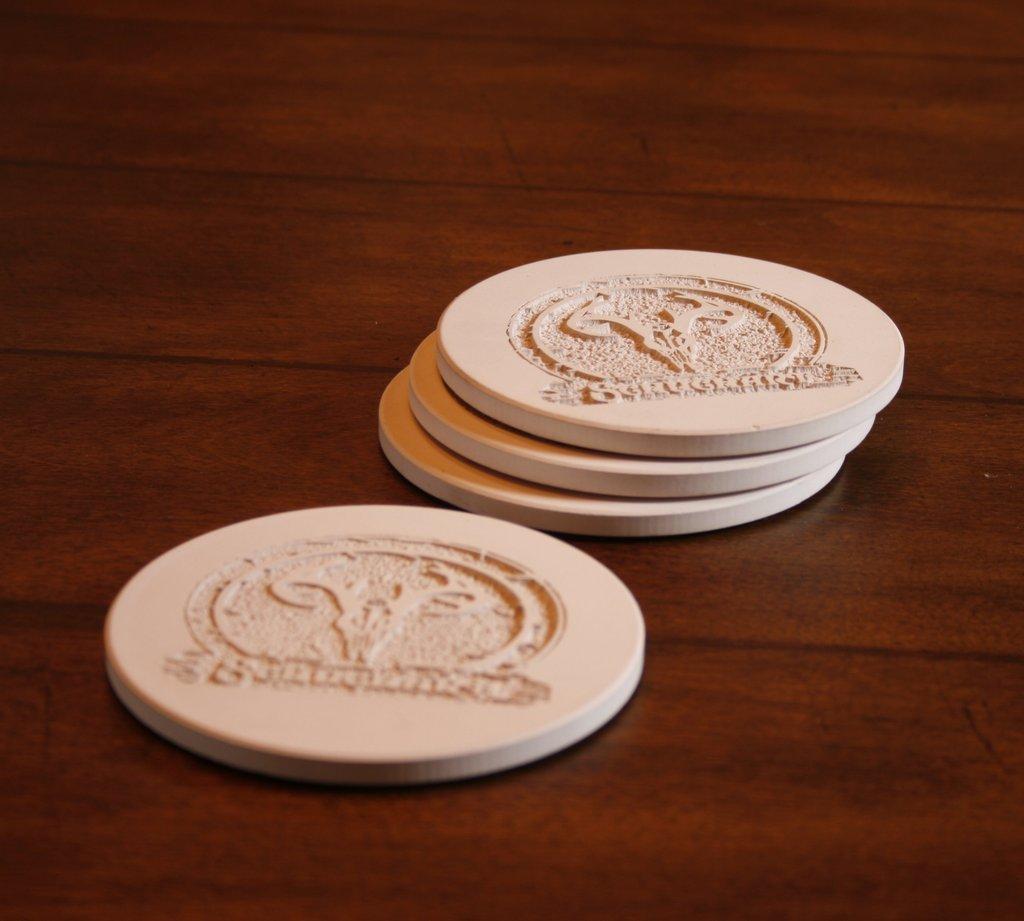Company Logo Coasters, SET of 4.
