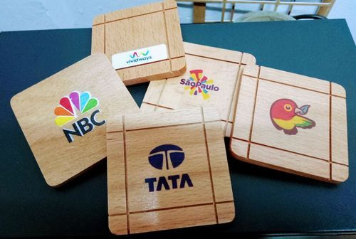 Customised Wooden Tea Coasters With Logo Printing.