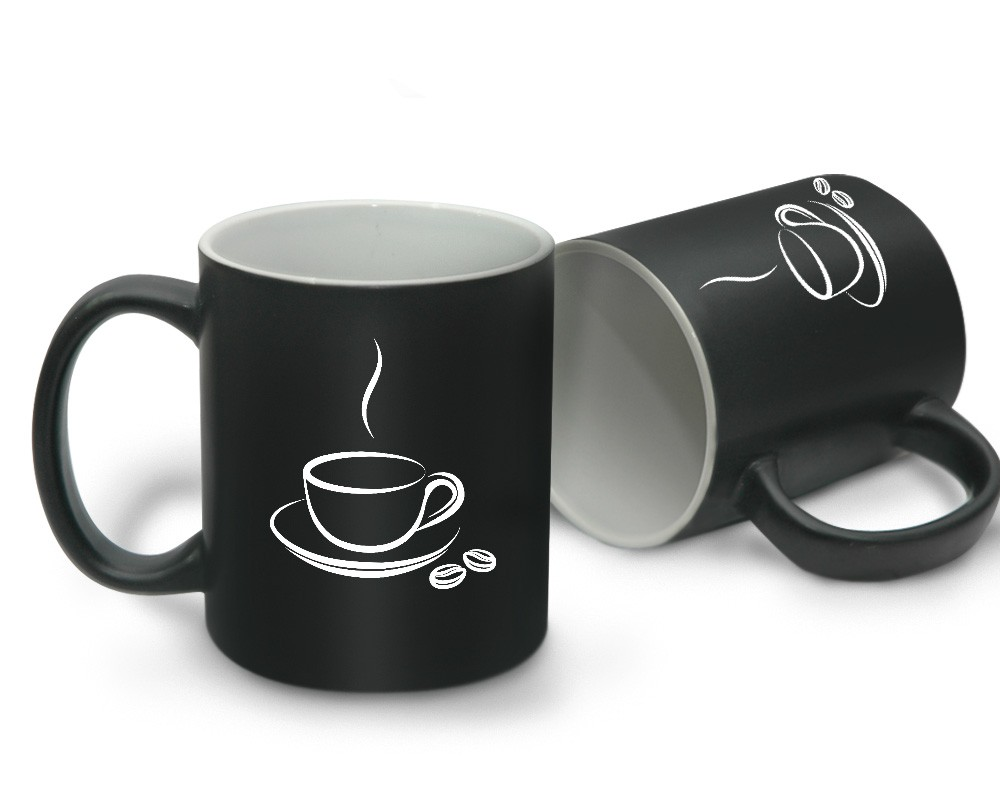 Matte Coffee Mug Black with Inner White with Logo Printing.