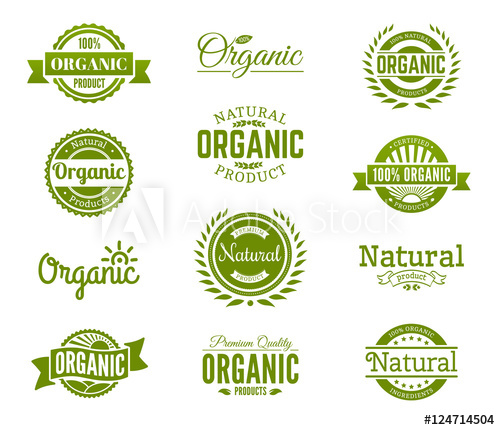 100% organic logo. Collection of healthy organic food labels.