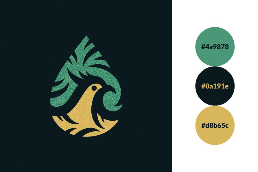 Bird raindrop logo.