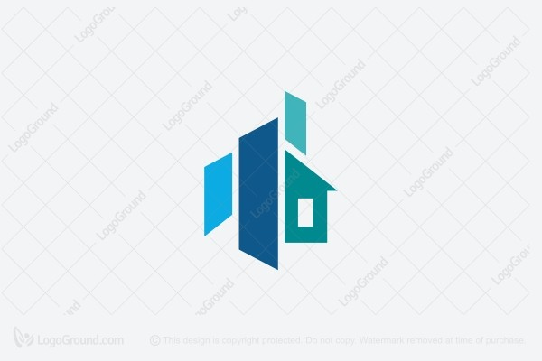 Exclusive Logo 75867, Blue Shapes Constructions Logo.