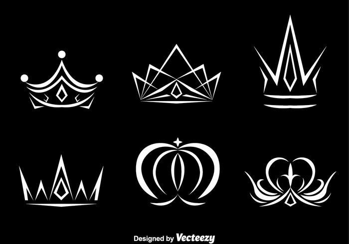 White Crown Logo Vectors.