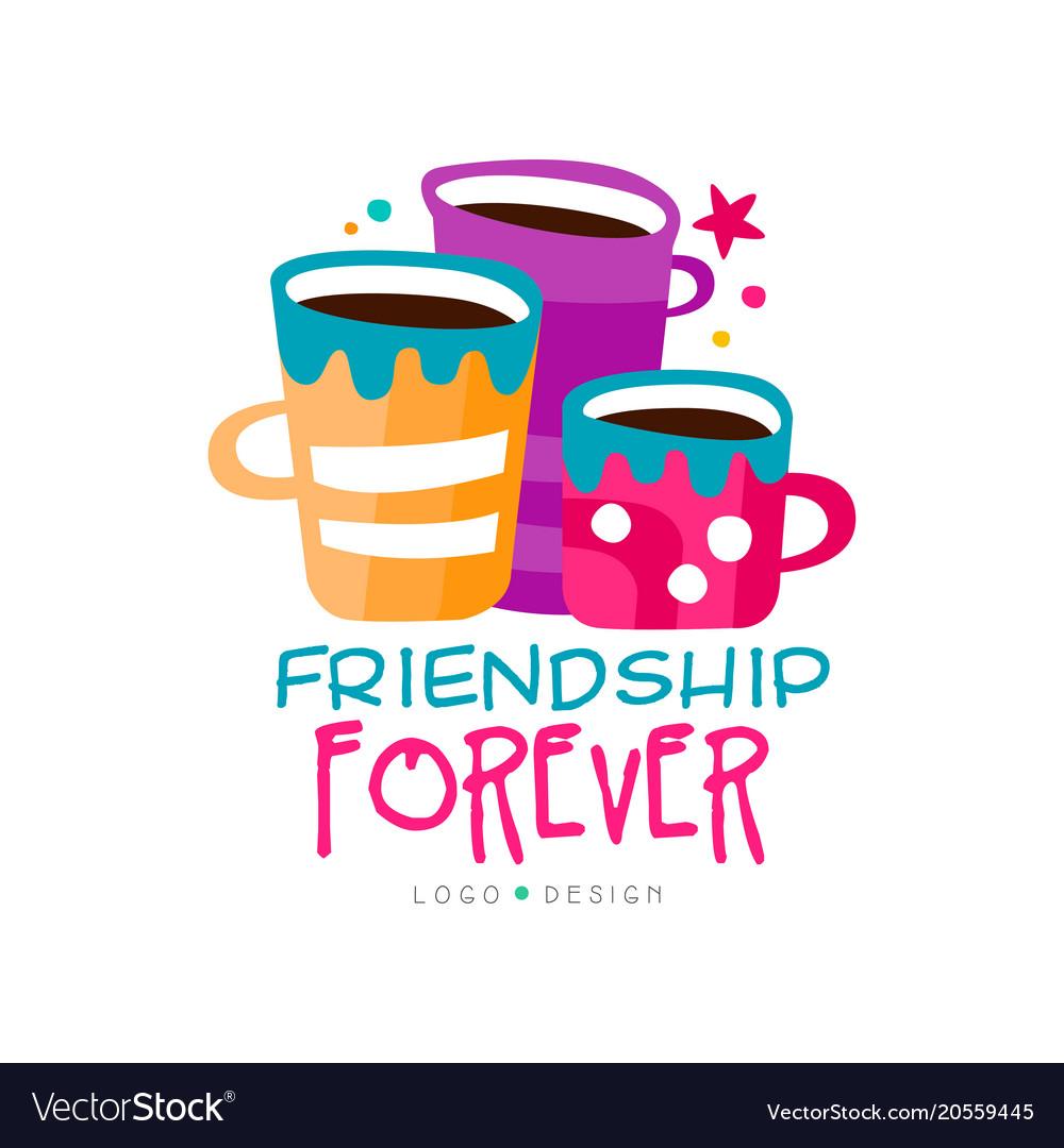 Original friendship logo template with three cups.