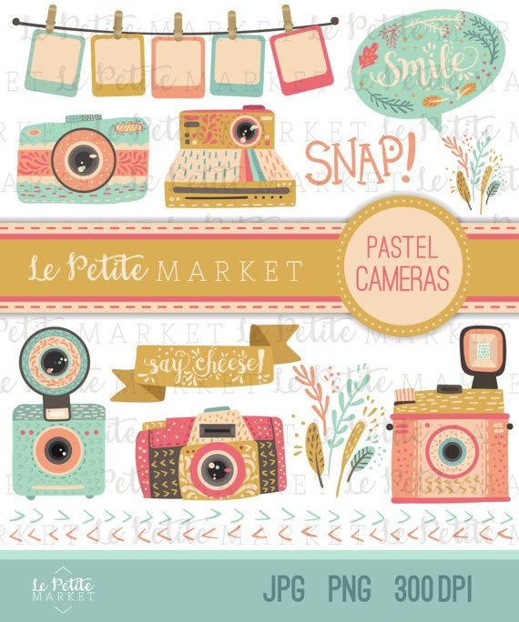Camera Clipart Set, Digital Camera Illustration, Pastel.