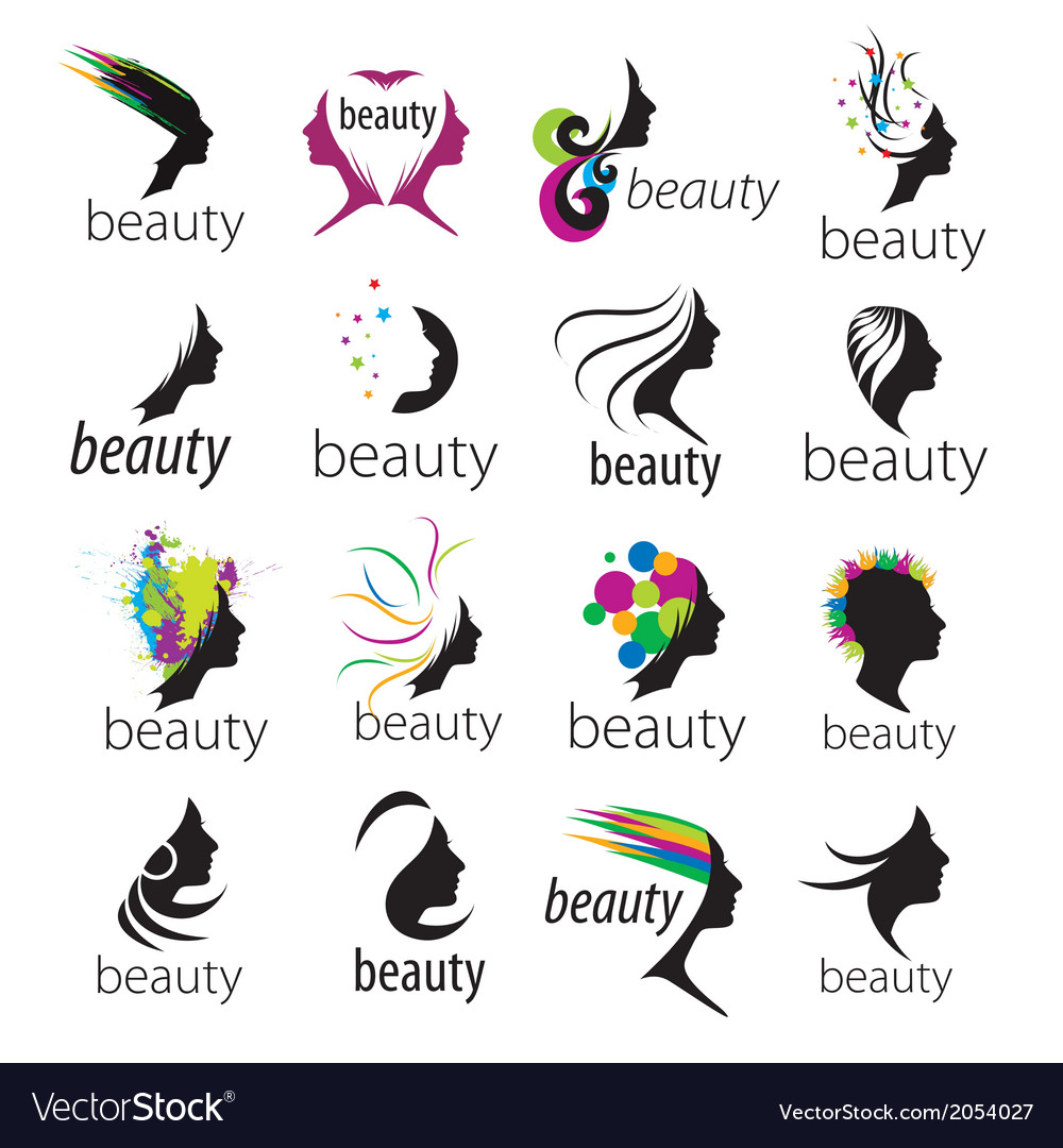 Collection of logos beautiful female face.