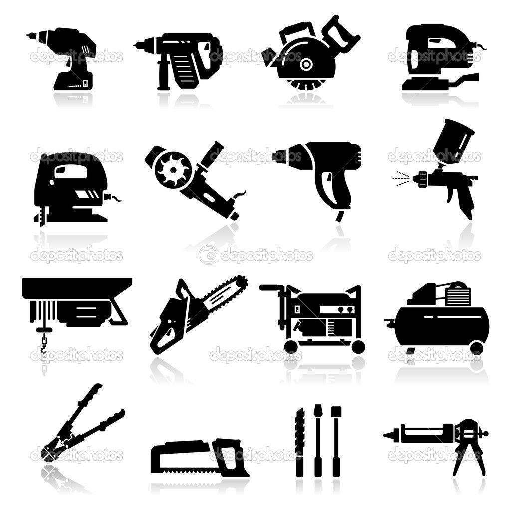 conjunto de iconos de herramientas industriales.